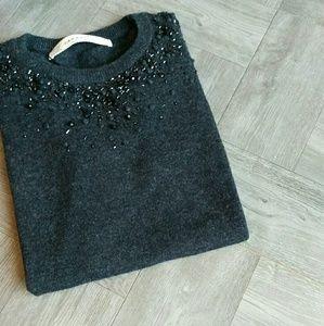 Zara KNIT HOLIDAY Beaded Sweater